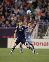 New England Revolution midfielder Marko Perovic (29) and Colorado Rapids defender Drew Moor (3) battle for head ball. The Colorado Rapids defeated the New England Revolution, 2-1, at Gillette Stadium on April 24, 2010.