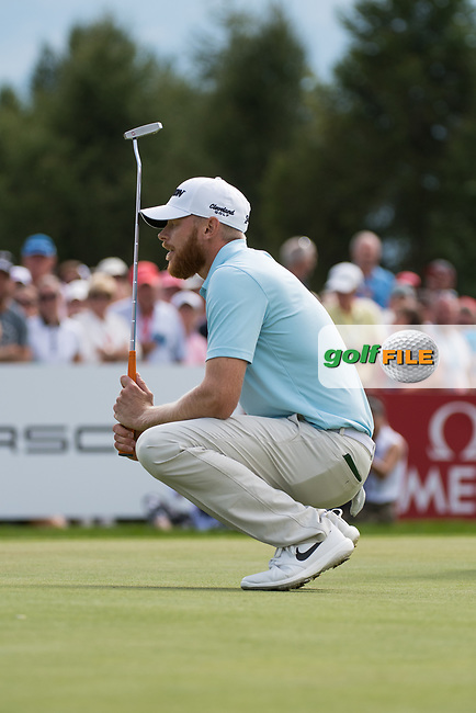 Sebastian Soderberg (SWE) lines up his putt on the 18th hole during final round at the Omega European Masters, Golf Club Crans-sur-Sierre, Crans-Montana, Valais, Switzerland. 01/09/19.<br /> Picture Stefano DiMaria / Golffile.ie<br /> <br /> All photo usage must carry mandatory copyright credit (© Golffile | Stefano DiMaria)