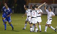 Josh Wolf celebrates Brian McBride's goal in San Salvador, El Salvador, Saturday Oct. 9, 2004. USA won 2-0.