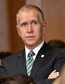 """United States Senator Thom Tillis (Republican of North Carolina) looks on from the back of the room as US Attorney General William P. Barr testifies before the US Senate Committee on the Judiciary on the """"Department of Justice's Investigation of Russian Interference with the 2016 Presidential Election"""" on Capitol Hill in Washington, DC on May 1, 2019.  The hearing will begin to answer questions about how the DOJ handled the conclusions from the Mueller probe.<br /> Credit: Ron Sachs / CNP<br /> (RESTRICTION: NO New York or New Jersey Newspapers or newspapers within a 75 mile radius of New York City)"""