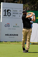 Adam Hadwin (International) on the 16th tee during the First Round - Four Ball of the Presidents Cup 2019, Royal Melbourne Golf Club, Melbourne, Victoria, Australia. 12/12/2019.<br /> Picture Thos Caffrey / Golffile.ie<br /> <br /> All photo usage must carry mandatory copyright credit (© Golffile | Thos Caffrey)