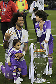 JuneJune 3rd 2017, Cardiff City Stadium, Wales; UEFA Champions League Final, Juventus FC versus Real Madrid; Marcelo celebrates with his family after their victory