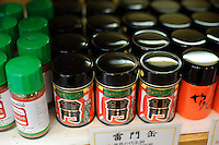 Shichimi on sale at Yagenbori shichimi, Asakusa, Tokyo, Japan, February 19, 2011.Yagenbori, founded in 1625 was the first to produce the now popular Japanese condiment.
