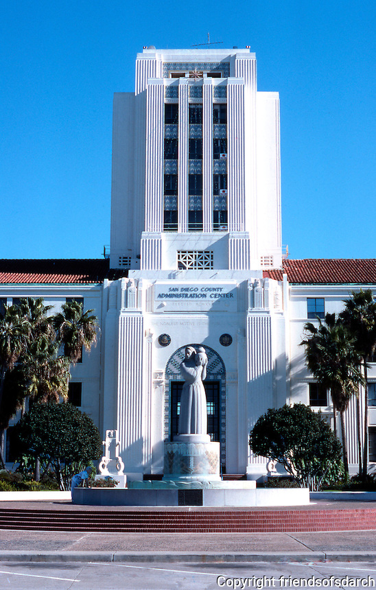 """San Diego: City/County Building. West Elevation.  """"The Guardian of Water"""" by Donal Hord. WPA project.  (Photo '80)"""