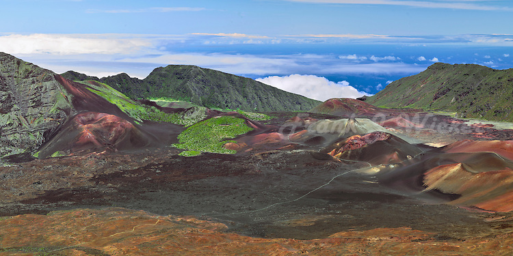 Spectacular view of multi colored cinder cones and lava flow in the crater in HALEAKALA NATIONAL PARK on Maui in Hawaii, USA