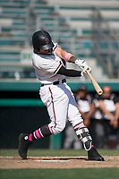 Modesto Nuts left fielder Logan Taylor (3) at bat during a California League game against the Lake Elsinore Storm at John Thurman Field on May 13, 2018 in Modesto, California. Lake Elsinore defeated Modesto 4-3. (Zachary Lucy/Four Seam Images)
