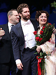 Harvey Weinstein, Matthew Morrison and Laura Michelle Kelly during the Broadway Opening Night Performance curtain call for  'Finding Neverland'  at The Lunt-Fontanne  Theatre on April 15, 2015 in New York City.