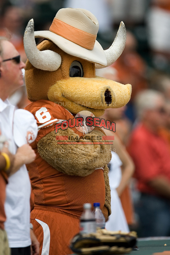 Texas Mascot 0326.jpg.  Big 12 Baseball game with Texas A&M Aggies at Texas Lonhorns  at UFCU Disch Falk Field on May 9th 2009 in Austin, Texas. Photo by Andrew Woolley.