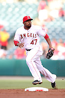 Los Angeles Angels second baseman Howie Kendrick #47 during a game against the Baltimore Orioles at Angel Stadium on August 20, 2011 in Anaheim,California. Los Angeles defeated Baltimore 9-8.(Larry Goren/Four Seam Images)
