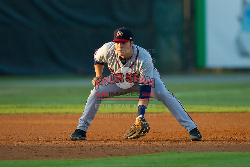 Danville Braves third baseman Victor Caratini (17) on defense against the Burlington Royals at Burlington Athletic Park on August 16, 2013 in Burlington, North Carolina.  The Royals defeated the Braves 1-0.  (Brian Westerholt/Four Seam Images)