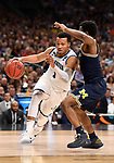 SAN ANTONIO, TX - APRIL 02: Jalen Brunson #1 of the Villanova Wildcats drives to the basket against the Michigan Wolverines   in the 2018 NCAA Men's Final Four National Championship game at the Alamodome on April 2, 2018 in San Antonio, Texas.  (Photo by Jamie Schwaberow/NCAA Photos via Getty Images)