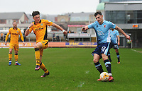 Blackpool's Jordan Flores under pressure from Newport County's Tom Owen-Evans<br /> <br /> Photographer Kevin Barnes/CameraSport<br /> <br /> The EFL Sky Bet League Two - Saturday 18th March 2017 - Newport County v Blackpool - Rodney Parade - Newport<br /> <br /> World Copyright &copy; 2017 CameraSport. All rights reserved. 43 Linden Ave. Countesthorpe. Leicester. England. LE8 5PG - Tel: +44 (0) 116 277 4147 - admin@camerasport.com - www.camerasport.com