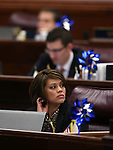 Nevada Assemblywoman Teresa Benitez-Thompson, D-Reno, works on the Assembly floor on the final day of the 77th Legislative session at the Legislative Building in Carson City, Nev., on Monday, June 3, 2013. <br /> Photo by Cathleen Allison