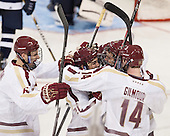 Steven Santini (BC - 6), Matthew Gaudreau (BC - 21), Peter McMullen (BC - 20), Adam Gilmour (BC - 14) - The Boston College Eagles defeated the visiting St. Francis Xavier University X-Men 8-2 in an exhibition game on Sunday, October 6, 2013, at Kelley Rink in Conte Forum in Chestnut Hill, Massachusetts.