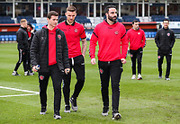 Fleetwood Town's Nathan Sheron, Ashley Eastham and Craig Morgan pictured before the match<br /> <br /> Photographer Andrew Kearns/CameraSport<br /> <br /> The EFL Sky Bet League One - Luton Town v Fleetwood Town - Saturday 8th December 2018 - Kenilworth Road - Luton<br /> <br /> World Copyright &copy; 2018 CameraSport. All rights reserved. 43 Linden Ave. Countesthorpe. Leicester. England. LE8 5PG - Tel: +44 (0) 116 277 4147 - admin@camerasport.com - www.camerasport.com