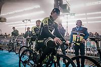 Michael Hepburn (AUS/Mitchelton-Scott) waiting for the pre-race team presentation in the legendary Kuipke Velodrome<br /> <br /> Omloop Het Nieuwsblad 2018<br /> Gent &rsaquo; Meerbeke: 196km (BELGIUM)