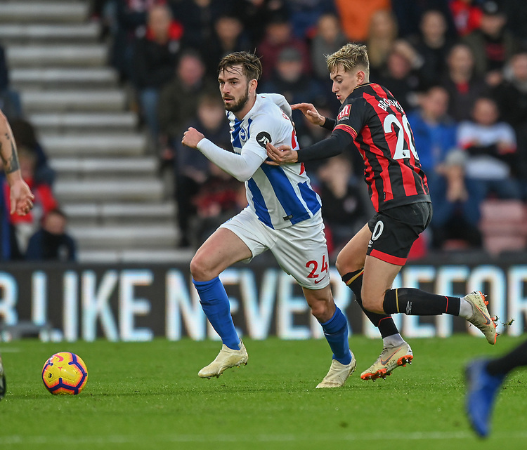 Bournemouth's David Brooks (right) battles with Brighton & Hove Albion's Davy Propper (left) <br /> <br /> Photographer David Horton/CameraSport<br /> <br /> The Premier League - Bournemouth v Brighton and Hove Albion - Saturday 22nd December 2018 - Vitality Stadium - Bournemouth<br /> <br /> World Copyright © 2018 CameraSport. All rights reserved. 43 Linden Ave. Countesthorpe. Leicester. England. LE8 5PG - Tel: +44 (0) 116 277 4147 - admin@camerasport.com - www.camerasport.com