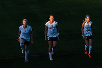 Sky Blue FC defender Melanie Booth (13), midfielder Brittany Bock (10), and midfielder Manya Makoski (22) warmup prior to playing the game. The Western New York Flash defeated Sky Blue FC 2-0 during a National Women's Soccer League (NWSL) semifinal match at Sahlen's Stadium in Rochester, NY, on August 24, 2013.