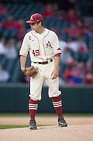 Arkansas Razorbacks pitcher Jalen Beeks (49) on the mound at Baum Stadium during the NCAA baseball game against the Alabama Crimson Tide on March 21, 2014 in Fayetteville, Arkansas.  The Alabama Crimson Tide defeated the Arkansas Razorbacks 17-9.  (William Purnell/Four Seam Images)