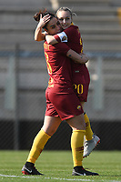 Martina Piemonte (L) of AS Roma celebrates with team mate Giada Greggi after scoring the opening goal during the Women Italy cup round of 8 second leg match between AS Roma and Roma Calcio Femminile at stadio delle tre fontane, Roma, February 20, 2019 <br /> Foto Andrea Staccioli / Insidefoto