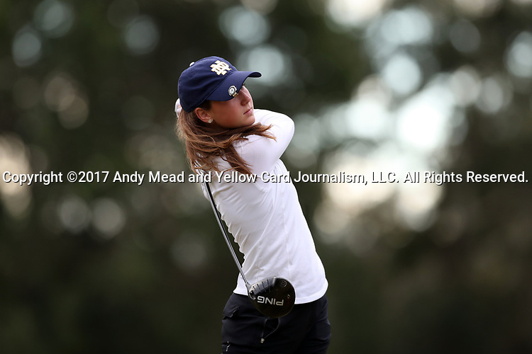 WILMINGTON, NC - OCTOBER 28: Notre Dame's Abby Heck on the 11th tee. The second round of the Landfall Tradition Women's Golf Tournament was held on October 28, 2017 at the Pete Dye Course at the Country Club of Landfall in Wilmington, NC.