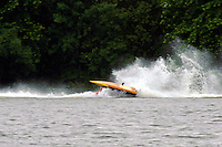 Frame 6: Marissa Affholder(151-M) races into turn 2 chasing 17-M and flips over. (stock outboard runabout)