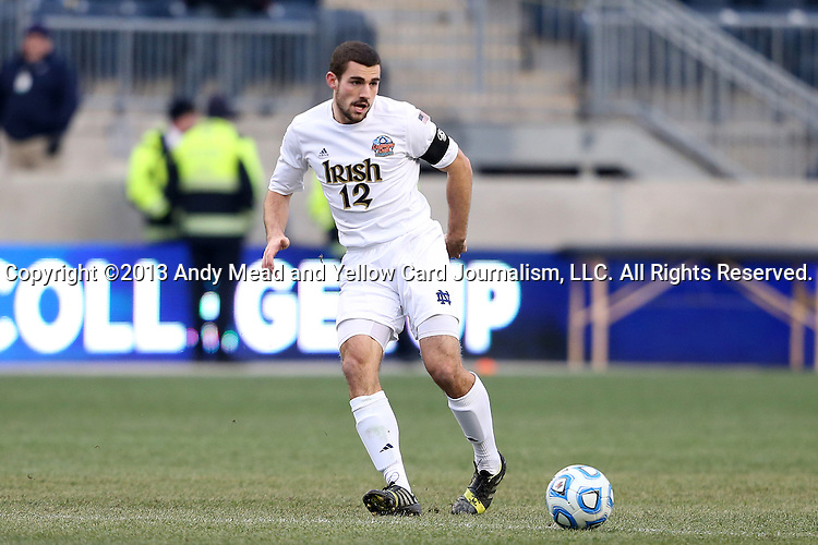 15 December 2013: Notre Dame's Andrew O'Malley. The University of Maryland Terripans played the University of Notre Dame Fighting Irish at PPL Park in Chester, Pennsylvania in a 2013 NCAA Division I Men's College Cup championship match. Notre Dame won the game 2-1.