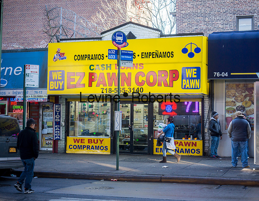 A pawn shop in the Jackson Heights neighborhood in Queens in New York on Saturday, December 21, 2013. The Jackson Heights neighborhood is home to a mosaic of ethnic groups beside Indians which include Pakistanis, Tibetans, Southeast Asian and long-time Jewish and Italian residents.  (© Richard B. Levine)