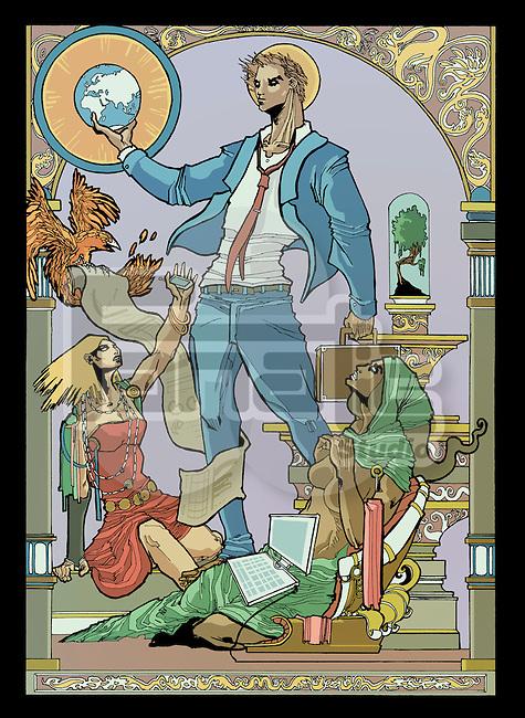 Illustrative image of businessman holding globe representing globalization