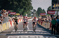 Koen de Kort (NED/Trek-Segafredo) & John Degenkolb (DEU/Trek-Segafredo) finishing up the Mûr de Bretagne while holding a Breton flag<br /> <br /> Stage 6: Brest > Mûr de Bretagne / Guerlédan (181km)<br /> <br /> 105th Tour de France 2018<br /> ©kramon