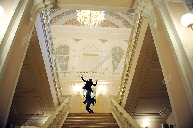 Up from the foyer of the newly refurbished building of the historical Bolshoi theatre, Sergei Filin the artistic director of the ballet jumped joyfully as he made his way up the stairs. Moscow, Russia, October 19, 2011