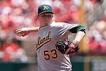 June 20, 2010      Oakland Athletics starting pitcher Trevor Cahill (53) throws in the first inning.  The St. Louis Cardinals lost 3-2 to the Oakland Athletics in the final game of a three-game homestand at Busch Stadium in downtown St. Louis, MO on Sunday June 20, 2010.