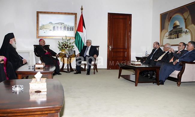 President Mahmoud Abbas (Abu Mazen)  meets with heads and representatives of churches in the Galilee,in the west bank of Ramallah on December 31, 2012. Photo by Thaer Ganaim