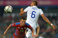 PRAGUE, Czech Republic - September 3, 2014: USA's John Brooks and Vladimir Darida of the Czech Republic during the international friendly match between the Czech Republic and the USA at Generali Arena.