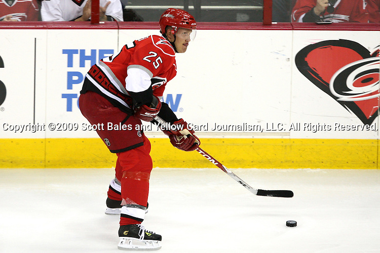 19 April 2009: Carolina's Joni Pitkanen (FIN). The New Jersey Devils defeated the Carolina Hurricanes 3-2 in OT at the RBC Center in Raleigh, NC in Game 3 of their 2009 National Hockey League Eastern Conference Quarterfinal playoff series.