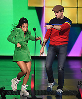 "LOS ANGELES - MARCH 23: Jason Sideikis and Liza Koshy appear on the Nickelodeon ""Kids' Choice Awards 2019"" at the Galen Center on March 23, 2019 in Los Angeles, California. (Photo by Frank Micelotta/PictureGroup)"