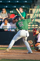 Ryan Tuntland (12) of the Augusta GreenJackets at bat against the Hickory Crawdads at L.P. Frans Stadium on May 11, 2014 in Hickory, North Carolina.  The GreenJackets defeated the Crawdads 9-4.  (Brian Westerholt/Four Seam Images)