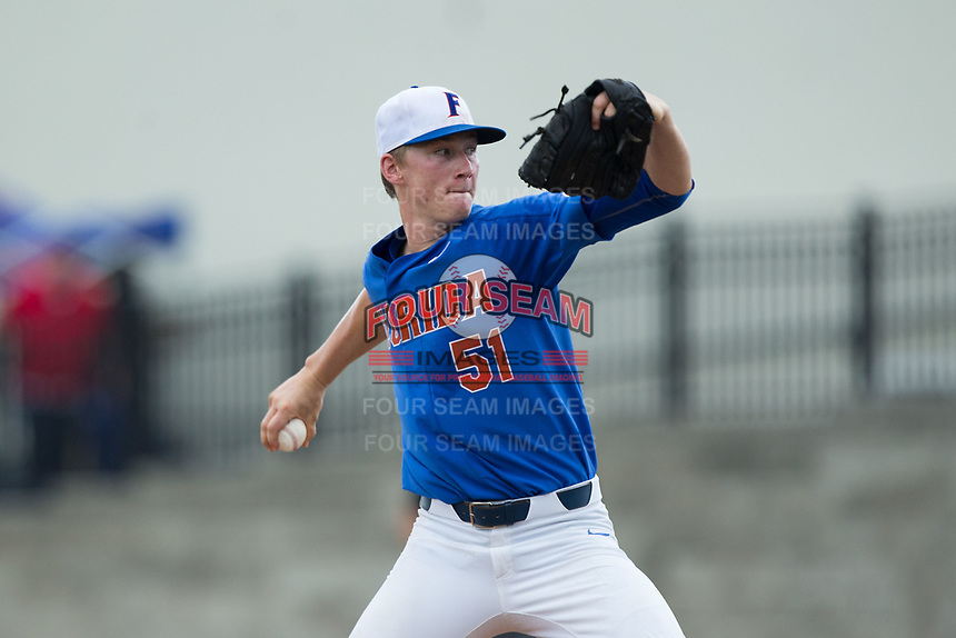 Florida Gators starting pitcher Brady Singer (51) in action against the Wake Forest Demon Deacons in Game Three of the Gainesville Super Regional of the 2017 College World Series at Alfred McKethan Stadium at Perry Field on June 12, 2017 in Gainesville, Florida. The Gators defeated the Demon Deacons 3-0 to advance to the College World Series in Omaha, Nebraska. (Brian Westerholt/Four Seam Images)