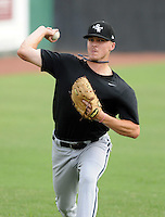 Pitcher Jason Van Skike (43) of the Bristol White Sox, Appalachian League affiliate of the Chicago White Sox, prior to a game against the Elizabethton Twins on August 18, 2011, at Joe O'Brien Field in Elizabethton, Tennessee. Elizabethton defeated Bristol, 13-3. (Tom Priddy/Four Seam Images)
