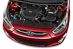 Car Stock 2015 Hyundai Accent GLS 4-Door 6-Speed Automatic 2 Door Sedan Engine high angle detail view