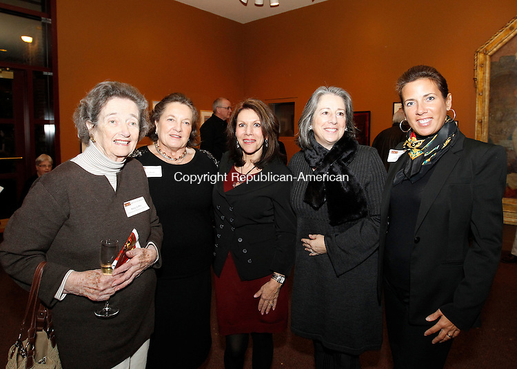 Waterbury, CT-14 February 2012-021412CM03-  Social Moments, Reception for the Mattatuck Museum's exhibit, Many Visions/One Community--- L-R Board Members: Mary Griffin, Kris Jacobi Mary Rosengrant-Chiappalone, Lynn Franklin-Henry (former Board Member) and Lynnette Letsky-Piombo.  Christopher Massa Republican-American
