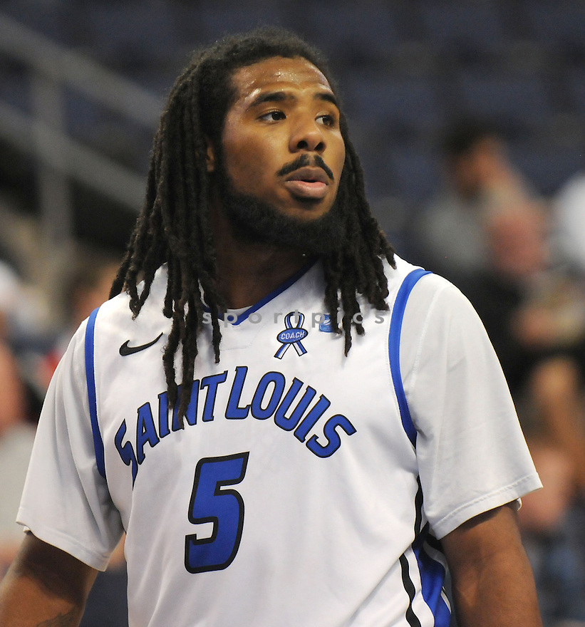 St. Louis Billikens Jordair Jett (5) in action during a game against Eastern Illinois on December 19, 2012 at Chaifetz Arena in St. Louis, MO. St. Louis beat Eastern Illinois 72-45.
