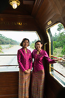 Travelling in style on the Eastern & Oriental Express from Bangkok to Singapore. Stewardesses Sandi and Sopa.
