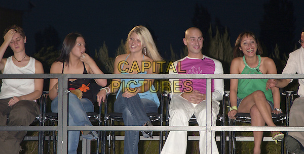 KITTEN, EMMA, VANESSA, MARCO & BECKY.Big Brother 5 Final Eviction.August 6th, 2004.full length, sitting.www.capitalpictures.com.sales@capitalpictures.com.©Capital Pictures