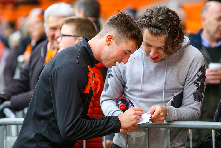 Blackpool's Chris Long signs an autograph before the match<br /> <br /> Photographer Alex Dodd/CameraSport<br /> <br /> The EFL Sky Bet League One - Blackpool v Shrewsbury Town - Saturday 19 January 2019 - Bloomfield Road - Blackpool<br /> <br /> World Copyright © 2019 CameraSport. All rights reserved. 43 Linden Ave. Countesthorpe. Leicester. England. LE8 5PG - Tel: +44 (0) 116 277 4147 - admin@camerasport.com - www.camerasport.com