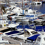 Boats moored at puerto Colon harbour, Tenerife, Canary Islands, Spain.
