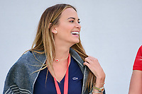 Brooks Koepka's (USA)girlfriend Jena Sims shares a laugh on the first tee during round 2 Four-Ball of the 2017 President's Cup, Liberty National Golf Club, Jersey City, New Jersey, USA. 9/29/2017.<br /> Picture: Golffile | Ken Murray<br /> <br /> All photo usage must carry mandatory copyright credit (&copy; Golffile | Ken Murray)