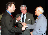 "Alec Baldwin, United States Senator Edward M. ""Ted"" Kennedy (Democrat of Massachusetts), and Norman Lear discuss the Defenders of Democracy Award given by the People for the American Way to Sen. Kennedy at a luncheon in Washington, D.C. on May 18, 1998..Credit: Ron Sachs / CNP"
