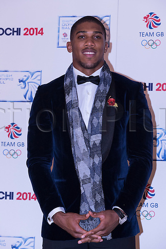 30.10.2013 London, England.   Anthony Joshua arrives at the British Olympic Ball at the The Dorchester Hotel, Park Lane.