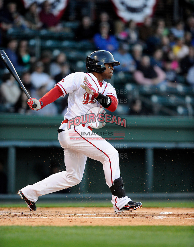 Outfielder Aneury Tavarez (5) of the Greenville Drive in a game against the Charleston RiverDogs on Opening Day, Friday, April 5, 2013, at Fluor Field at the West End in Greenville, South Carolina. (Tom Priddy/Four Seam Images)